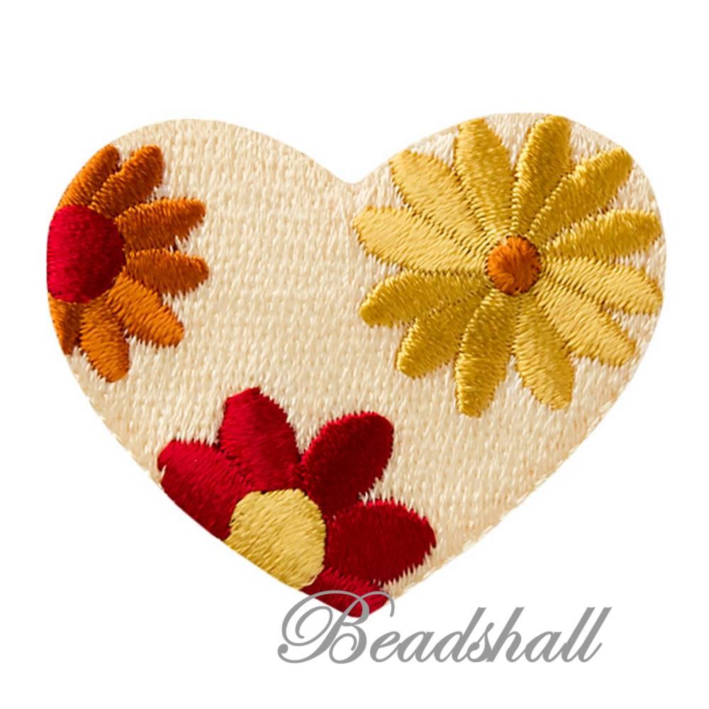 2 Bügelbilder Herzen rot-gelb Applikationen Bild 1