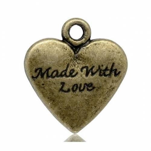 20  ANHÄNGER, Herz, Herzen, made with love, bronze, Vintage-Stil, charm, charms, 13226