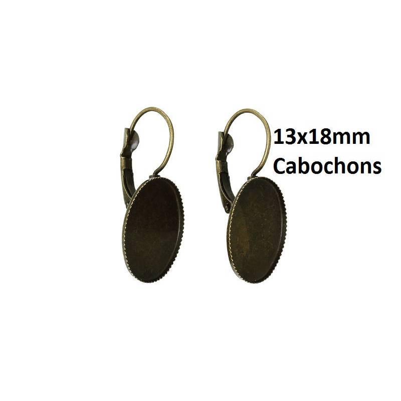 10 Ohrringe, Ohrbrisuen, Brisuren, Ohrhaken,Cabochons, Cabochon,Klebesteine, Kuppelsteine, bronze,13x18mm, 42713 Bild 1