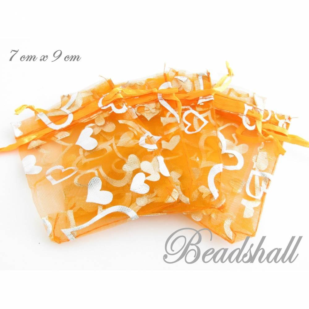 12 Organzabeutel orange Organzasäckchen mit silberfarbenen Herzen Bild 1