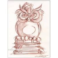 Original Rötelzeichnung auf Zeichenkarton : Büchereule Book owl / 24x32 cm  Bild 1