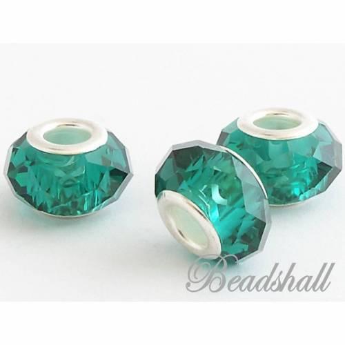 5 Modulperlen Glasschliffperlen Perlen Farbe Petrol Glasperlen facettiert