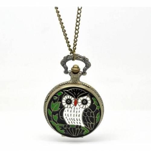 1 Kette und Uhr, DIY, bronzefarben, Vintage-Stil, Kettenuhr, Muster, Antik-Stil, Eule, 16520
