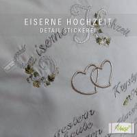 ✂ Eiserne Hochzeit, Eisenhochzeit, Kissen mit Stickerei,  Geschenk Bild 2