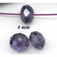 200 Glasperlen, geschliffen, facettiert, Perlen, Schmuckperlen 4mm, lila, 05083 Bild 1