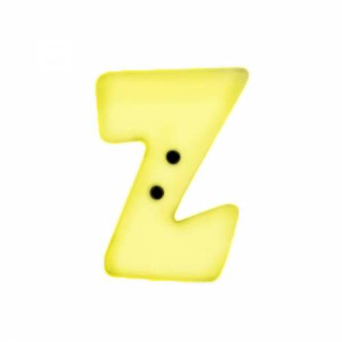 Buchstaben Knopf - Z - Farbe - zitronengelb