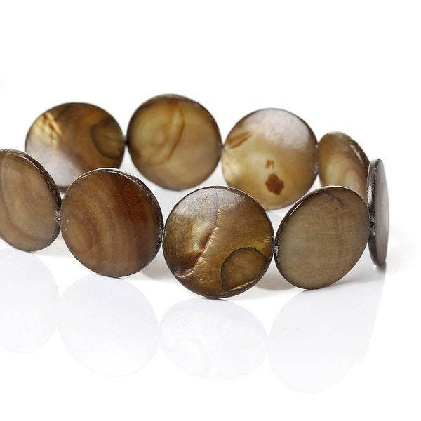 20 Perlen, Perlmutt, Perlmuttperlen, Scheiben, 20mm, Nude, Schmuckperlen,   40345 Bild 1