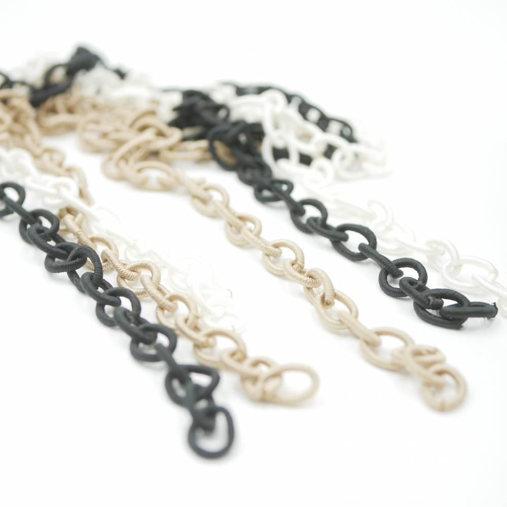 Gliederkette aus Textil Stoffkette,schwarze, beige oder weiß , 80 cm , ideal für Brillenkette Bild 1