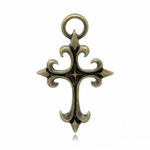 1 Verzierter großer Anhänger , Kreuz, Kruzifix, Antik-Style, Vintage-Stil, bronze, charm, charms, 14739