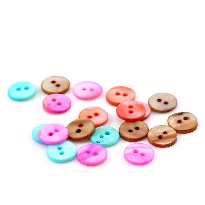 100  Perlmuttknöpfe, Knöpfe, bunt, 13mm, 2 Loch,  22013 Bild 1