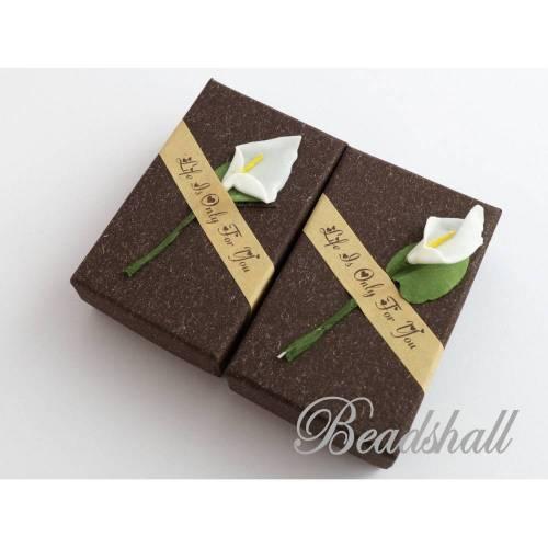 2 Geschenkschachteln Schoko Braun Schmuckschachteln mit Blume Calla Geschenkverpackung