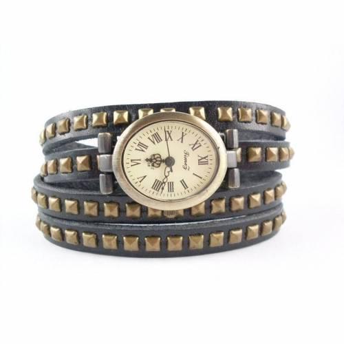 1 Wickelarmband und Uhr, DIY, echt Leder, Nietenarmband, Druckknopfverschluss, Armbanduhr, U4sch