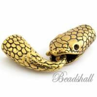 2 Endkappen Schlange altgoldfarben Bandendkappen Schmuckverschluss Verschluss für Lederband Hakenverschluss Bild 1