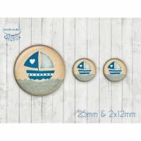 Motiv Cabochon-Set Nr 49142 Segelboot maritim Bild 1