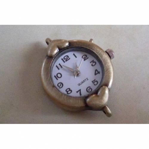 Uhr Rohling,Quarzuhr, Vintage-Stil, rund, bronze, verziert, arabische Zahlen, Armbanduhr, Kettenuhr, Herz
