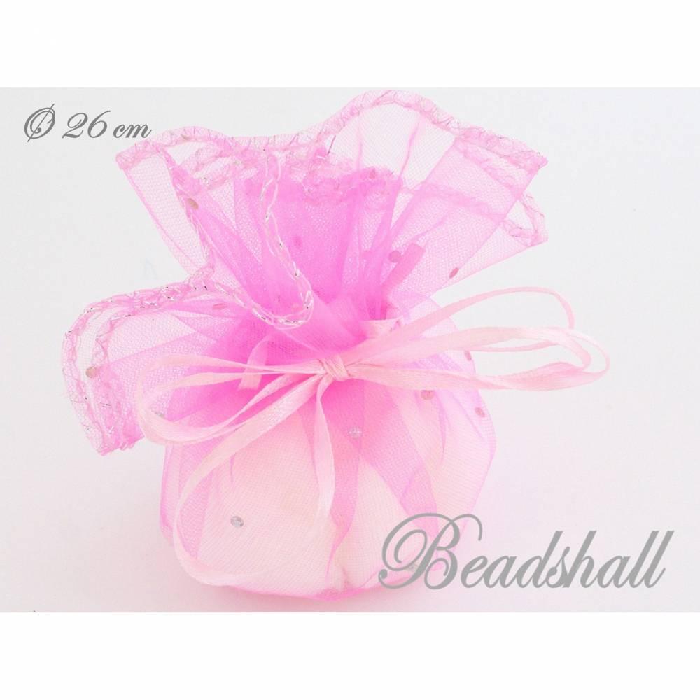 10 Organzasäckchen runde Organzabeutel rosa Geschenkbeutel Bild 1