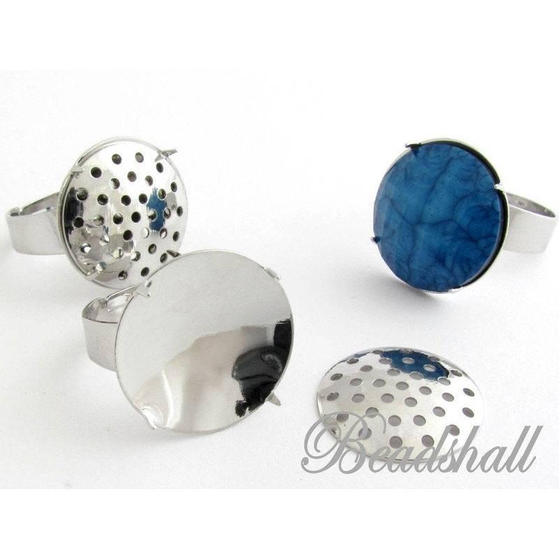 2 Ringrohlinge mit Siebaufsatz silberfarben Fingerring Bild 1