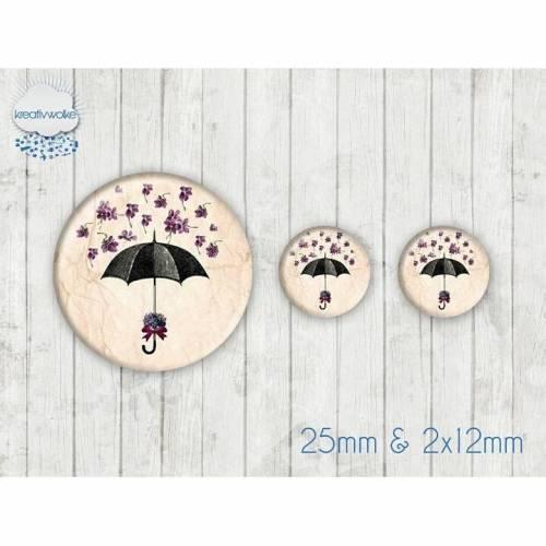 Motiv Cabochon-Set Nr 49103 Regenschirm Blüten