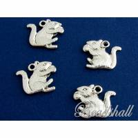 5 Charms Eichhörnchen mit Nuss silberfarben Anhänger Metallanhänger