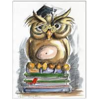 Original Feder und Aquarell : Büchereule Book owl / 24x32 cm  Bild 1