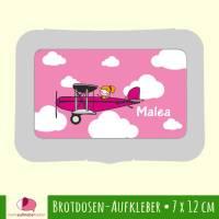Brotdosen - Aufkleber | Flugzeug rosa  - großer Namensaufkleber Bild 1