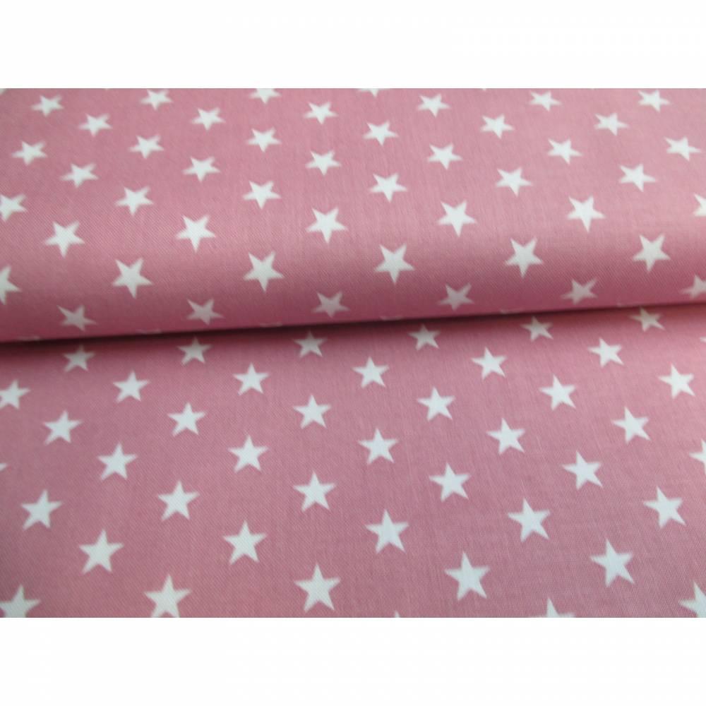 kleine weiße Sterne auf BABYROSA Baumwollstoff 1cm Carrie