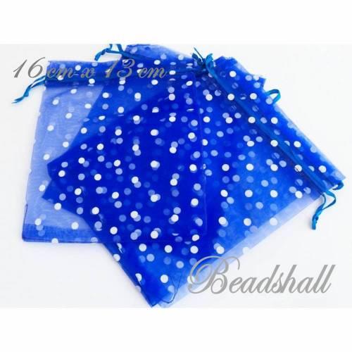 5 Organzasäckchen Farbe Blau Organzabeutel mit Punkten Geschenkbeutel
