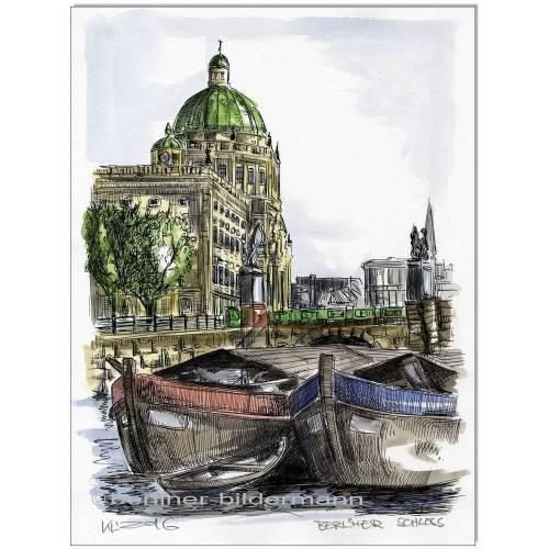 Original Feder und Aquarell : Berlin Berliner Stadtschloss II/ 24x32 cm