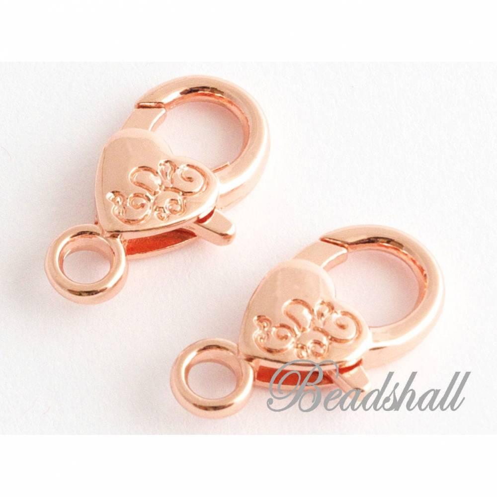 2 Verschlüsse Karabinerhaken mit Herz rosegoldfarben Schmuckverschluss Bild 1