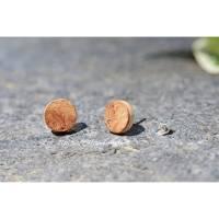 Holzohrstecker – Rüster-Maser-Eiche Schichtholz Kreis ∅ 9mm 925 Silberstecker Bild 1