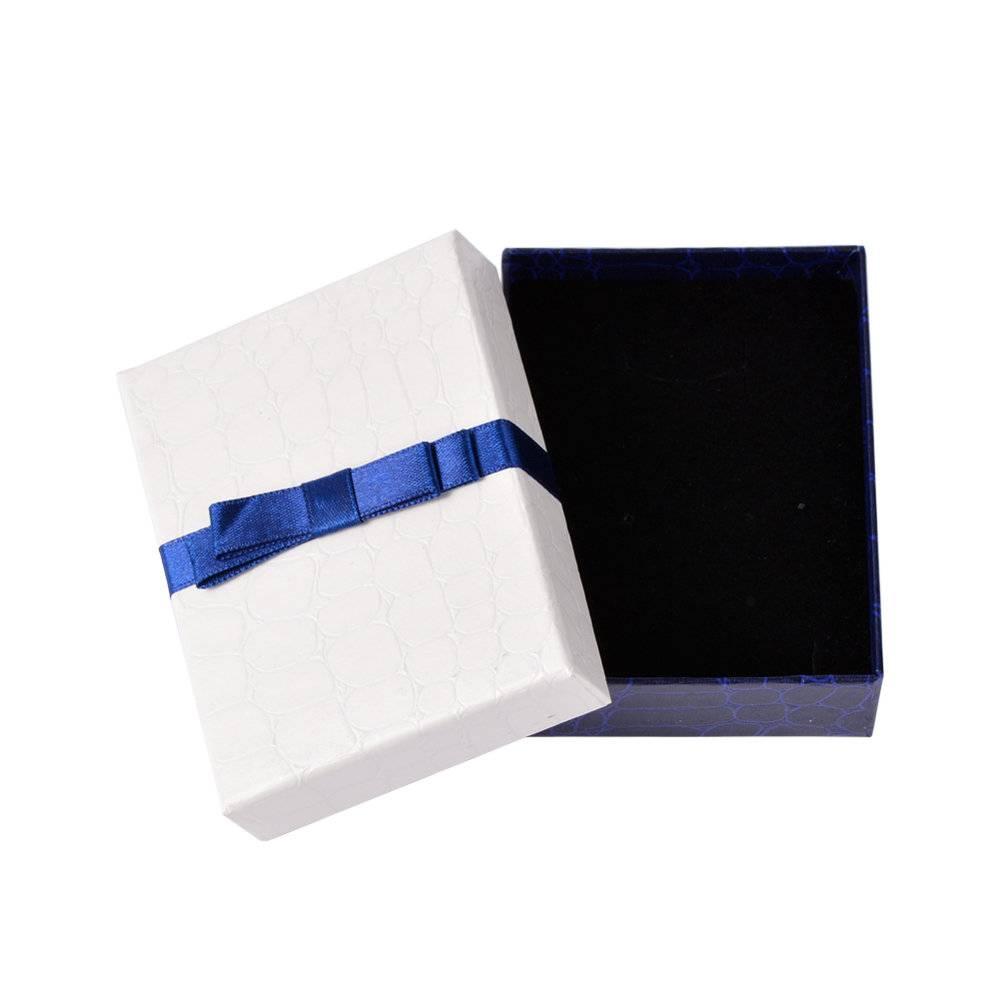 1 Schmucketui ,9x6.9x2.9 cm, Etui, Armband, Kette, Schmuckset, Verpackung, Schmuckverpackung, etui weiss-blau Bild 1