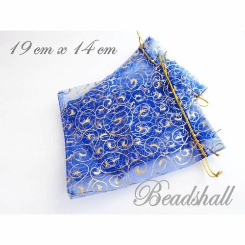 10 Organzabeutel Organzasäckchen Blau Muster goldfarbene Ranken Geschenkverpackung