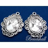 2 Metallanhänger Oval silberfarben Antik Look mit Motiv Lady Bild 1