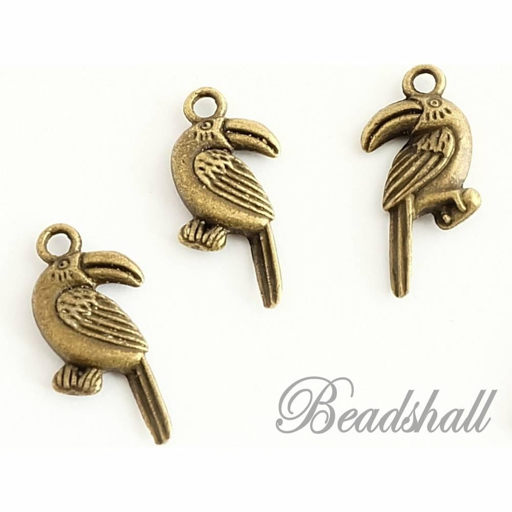 10 Anhänger Tukan Vogel Charms bronzefarben Metallanhänger Bild 1