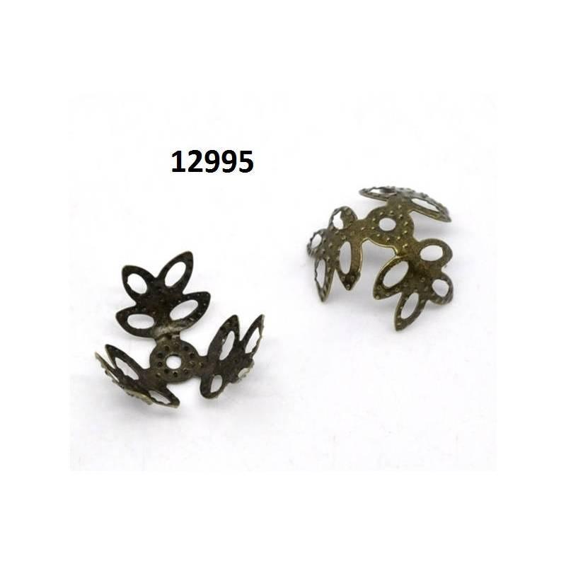 Perlkappen, Perlen, Kappen für Perlen, Blume, bronze,14mm, 12995 Bild 1