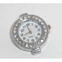 1 Uhr Rohling, Quarzuhr, arabische Zahlen, Vintage-Stil, antiksilber, weiss, Armbanduhr, Kettenuhr, Strass, 06435 Bild 1