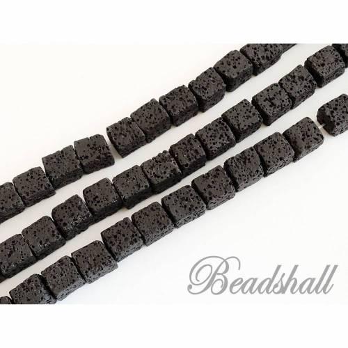 1 Würfelstrang Lava Farbe Schwarz Lavaperlen Würfel