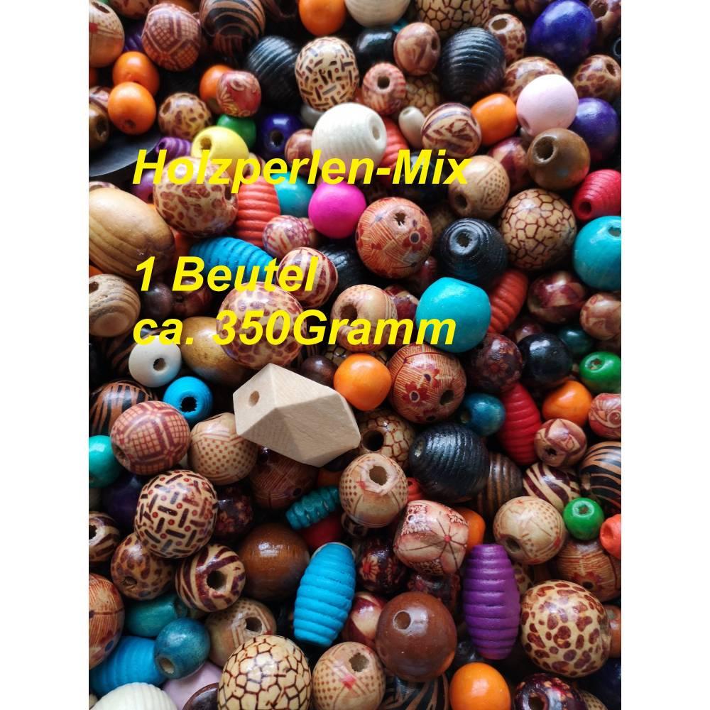 1 großer Beutel Holzperlen, Mix, verschiedene Größen und Formen,  zufällig gemischt, ca. 350 Gramm Bild 1
