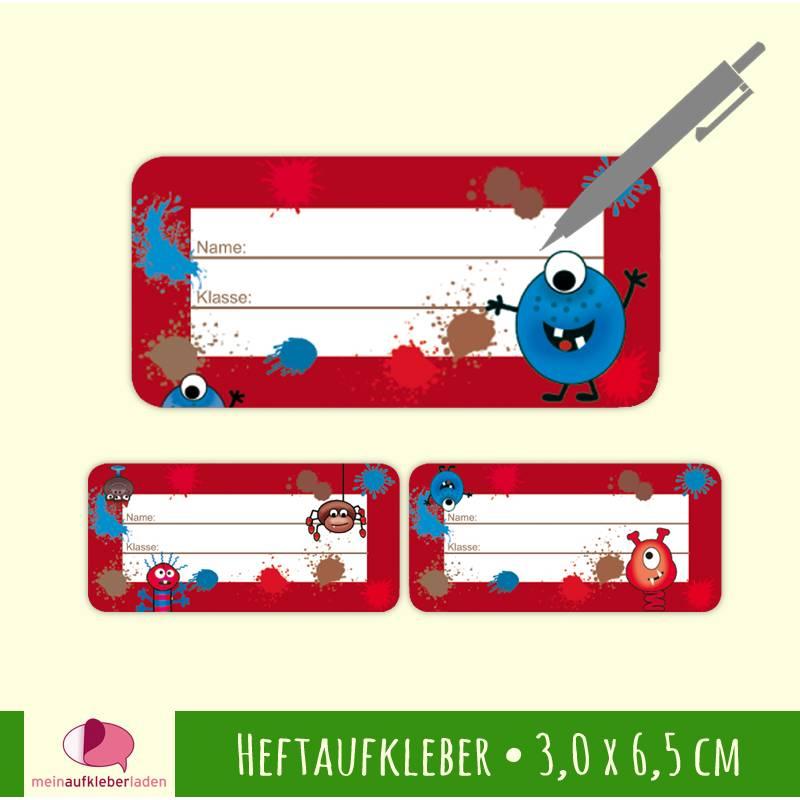 24 Heftaufkleber   Farbklecks Monster rot - Schulaufkleber zum selbstbeschriften - 3,0 x 6,5 cm Bild 1