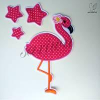 Set Flamingo + Sterne, Aufnäher, S-XL, Bügelbild, Applikation zum Aufbügeln Bild 1