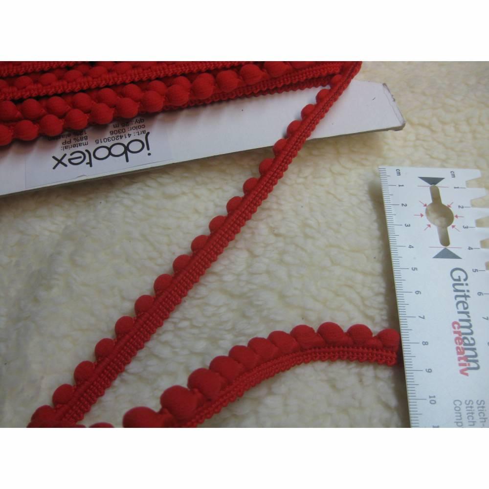 1 m Pomponband, Bommel Borte rot Breite 12 mm ,  (1m/1,10  €) Bild 1