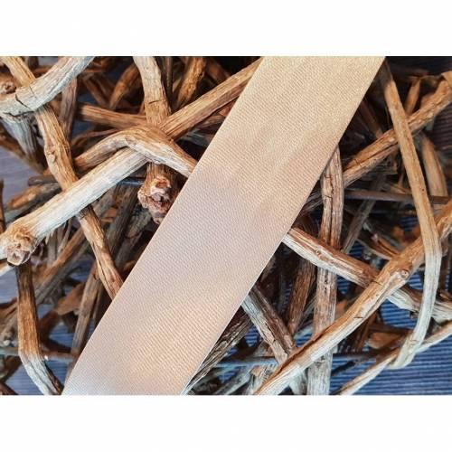Satin Schrägband gefalzt 20 mm dunkel beige