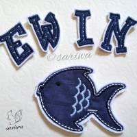 Set Fisch + Buchstaben, Aufnäher nach Wunsch -- Bügelbild -- Applikation zum Aufbügeln Bild 1