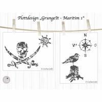maritime Plotterdatei Pirat, Möwe, Windrose, Steuerrad, Grunge Look, Maritim 1 Bild 2