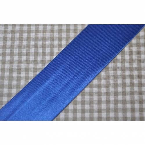 Satin Schrägband gefalzt 30 mm royalblau