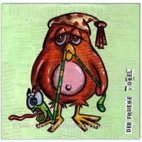 Original Collage und Acryl: Der frühe Vogel fängt den Wurm II /20x20 cm Bild 1
