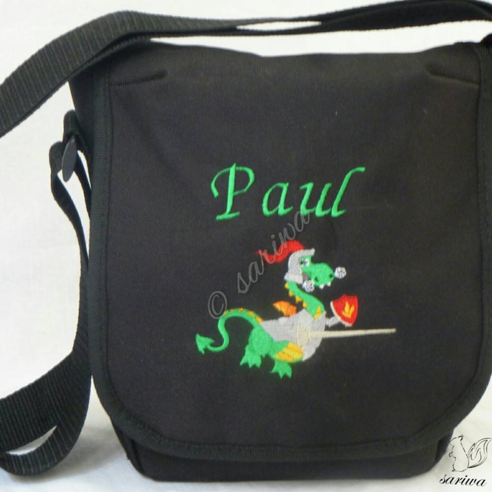 Kindergarten- / Kita-Tasche bestickt mit Drachen-Ritter +  Wunschname Bild 1