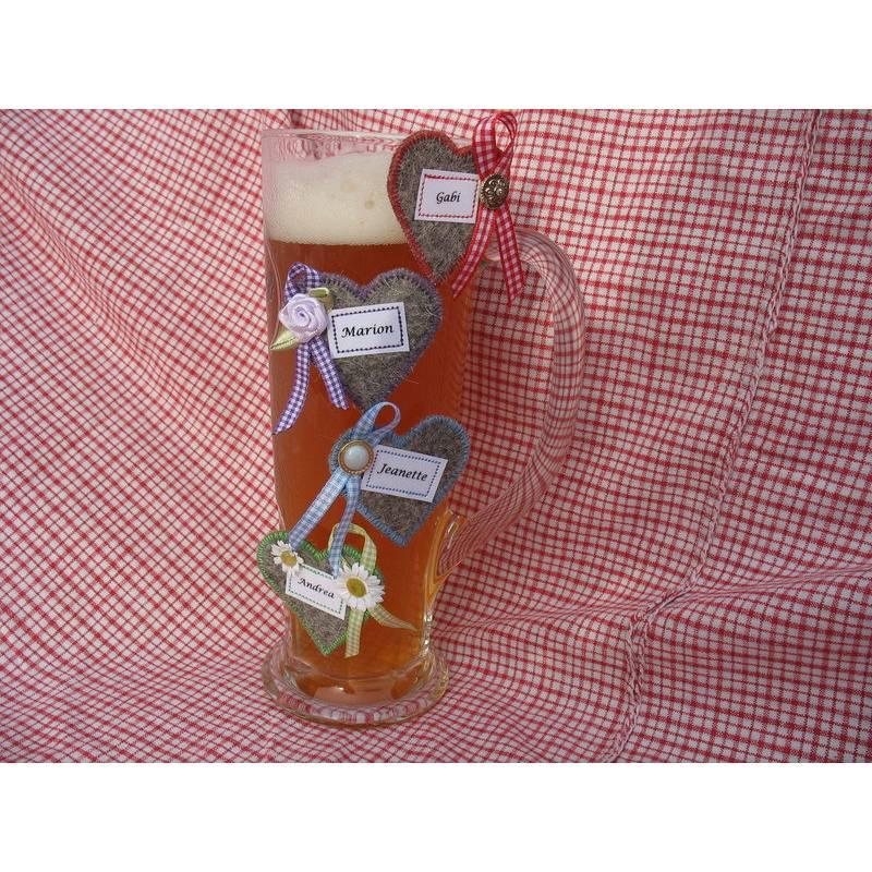 Glas-Markierung Krug-Markierung, Glas-Marker, Platzkarte Gäste Filz-Herz Wunschbeschriftung zünftig oder festlich Bild 1