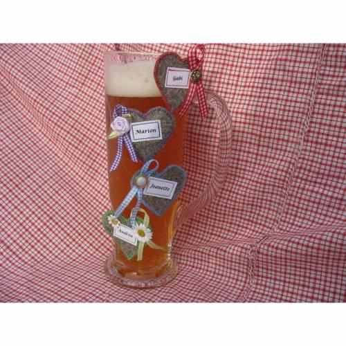 Glas-Markierung Krug-Markierung, Glas-Marker, Platzkarte Gäste Filz-Herz Wunschbeschriftung zünftig oder festlich