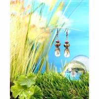 Feen Tautropfen Ohrringe - Bronzefarben Transparent Rot Bild 1